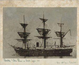 Corvetta Vettor Pisani nella Baia di Assab 1871
