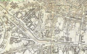 Cartina dell'area nei pressi della Darsena di Milano del 1883 (fonte: vecchiamilano.wordpress.com)
