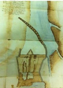 Il disegno della cascata e della passonata a opera dell'architetto Mattia de Rossi (Fonte: Risarcimento dell'argine della cascata, ASCT, 1671-1683)