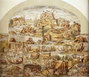 Mosaico del Nilo di Palestrina (II-I secolo a.C.) conservato dal 1956 presso il Museo archeologico prenestino
