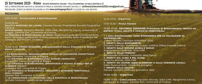 """(Italiano) """"LA STRATEGIA EUROPEA DI BIOECONOMIA: SCENARI E IMPATTI TERRITORIALI, OPPORTUNITA' E RISCHI"""" – VENERDI' 25 SETTEMBRE 2020 – ORE 9.30"""