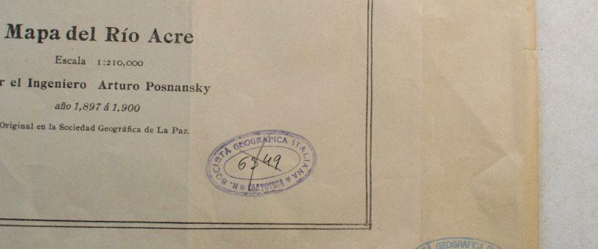 """Restauro della """"Mapa del Rio Acre por Arturo Posnansky, 1900"""" adottata da Paolo Casetti"""