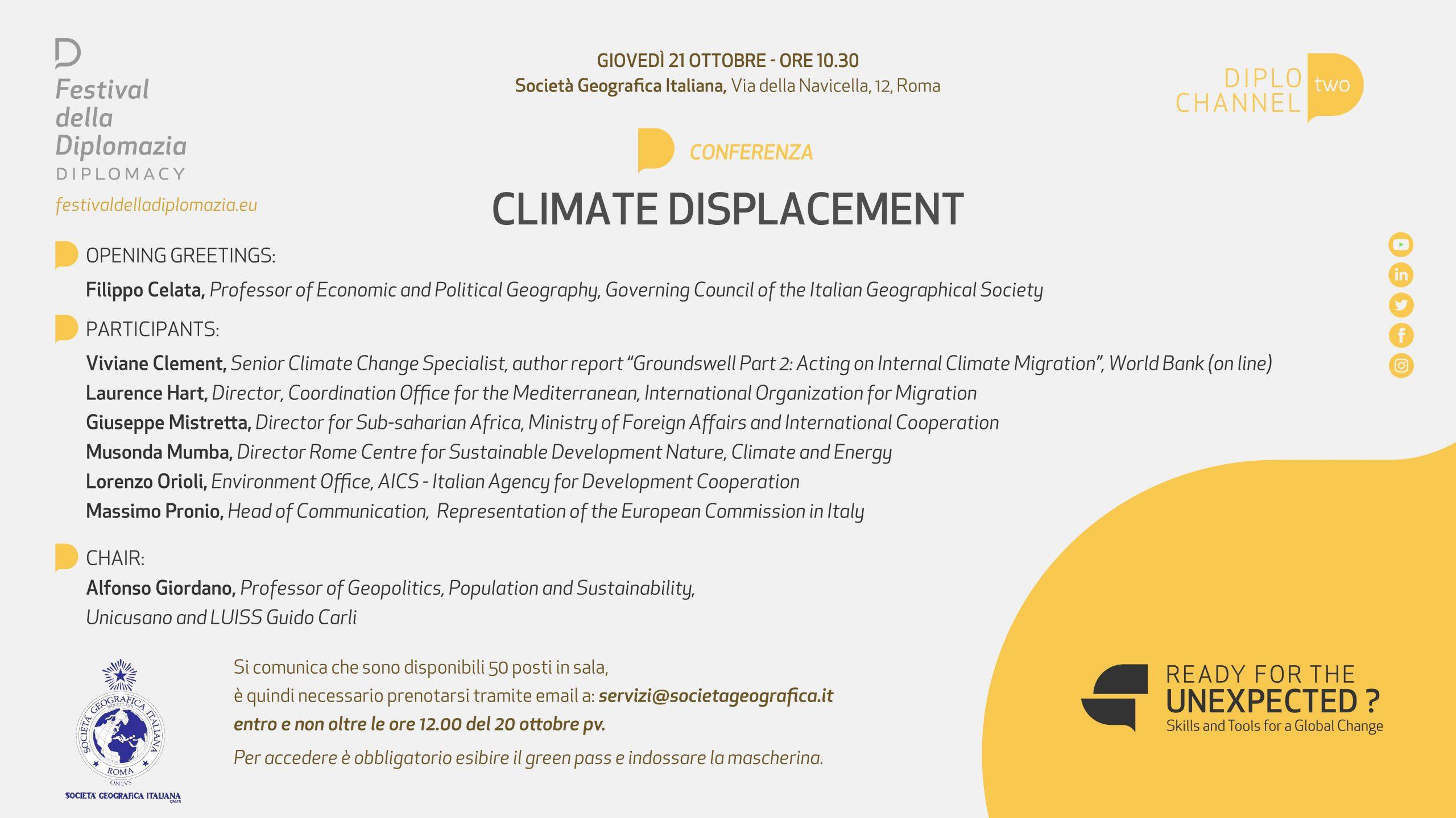 """GIOVEDI' 21 OTTOBRE 2021 – ORE 10:30 – FESTIVAL DELLA DIPLOMAZIA – CONFERENZA """"CLIMATE DISPLACEMENT"""""""